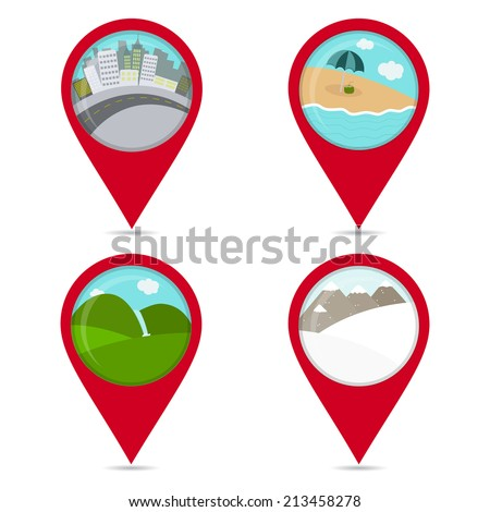 Map pin icons of landscapes: beach, snow, city, field. Colorful. White background.