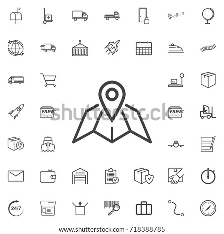 map pin line icon logistics transportation parcel shipping delivery icons set Flat isolated on the white background. Vector illustration.Trendy style for graphic design logo