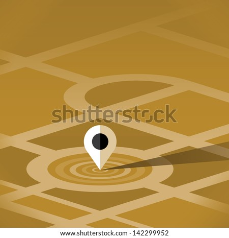 Map pin pointer vector icon with vintage colors design. Close-up selective focus view. Idea - Navigation and travel concept.