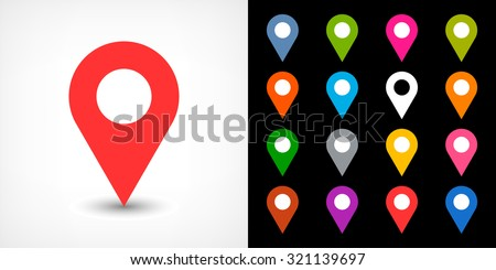 Map pin sign location icon with drop shadow in flat simple style. White, blue, cobalt, yellow, green, red, magenta, orange, pink, violet, purple, gray, brown shapes on black background. Vector 8 EPS