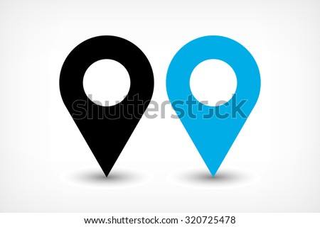 Map pin sign location icon with ellipse gray gradient shadow in flat simple style. Black and blue color rounded shapes isolated on white background. Vector illustration web design element 8 EPS