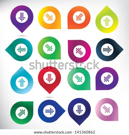 Map pins with arrows