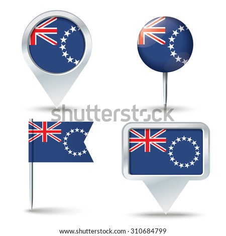 map pins with flag of cook