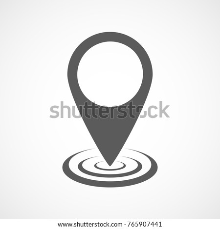 Map point icon in flat design. Vector illustration. Gray pointer on light background.