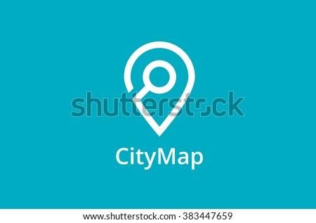 Map Point Location Logo. City locator design vector template. Pin maps symbol vector . Gps icon design vector. Simple clean design. Geo point navigation logotype.