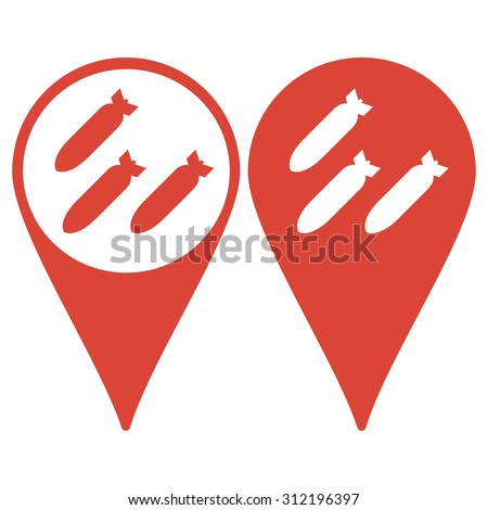 map pointer air bomb vector