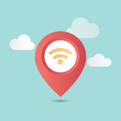 Map pointer and wifi icon logo with white clouds and light blue sky background. Wifi icon with pin map, Map navigation, WiFi Hotspot, Wifi connection symbol. Flat style vector illustration.