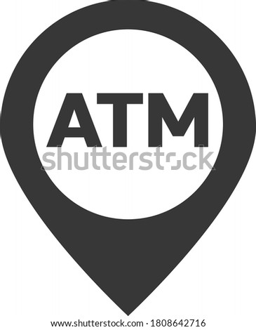 Map pointer. Atm pin Map marker with ATM cashpoint bank icon, map pin, GPS location symbol, vector illustration. Automated Teller Machine Cash withdraw. Map element. Pinpoint special locations.
