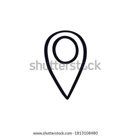 Map pointer doodle icon sign sky logo symbol Hand drawn Abstract cartoon cute design style Fashion print for clothes apparel greeting card banner online store poster