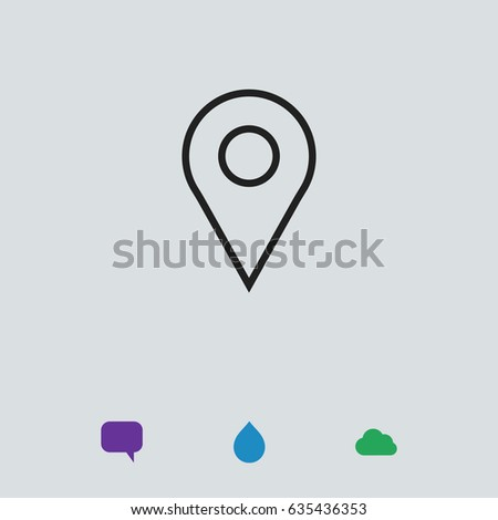 Map pointer flat icon, stock vector illustration flat design style