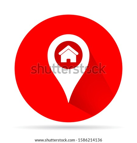 Map pointer house vector icon , design Map pointer house illustration for web. Flat style Map pointer house