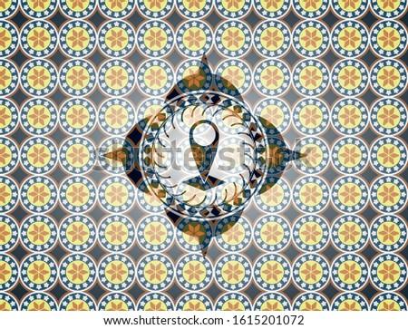 map pointer icon inside arabesque emblem. arabic decoration.