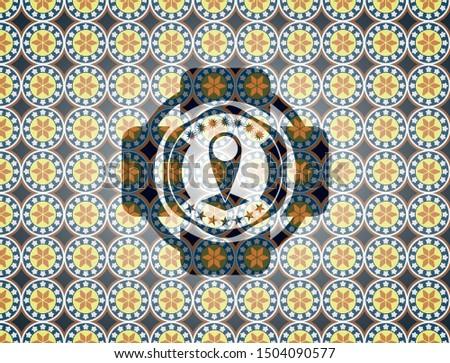 map pointer icon inside arabic emblem. Arabesque decoration.
