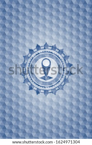 map pointer icon inside blue polygonal badge.