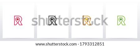 Map Pointer On Letter Logo Design R Stock fotó ©
