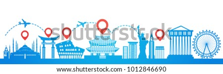 Map Pointer Over Famous Seoul Landmarks Travel Route Planning Tourism Destinations Concept Flat Vector Illustration