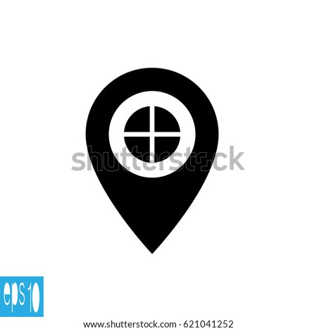 Map pointer plus sign, icon  - vector illustration