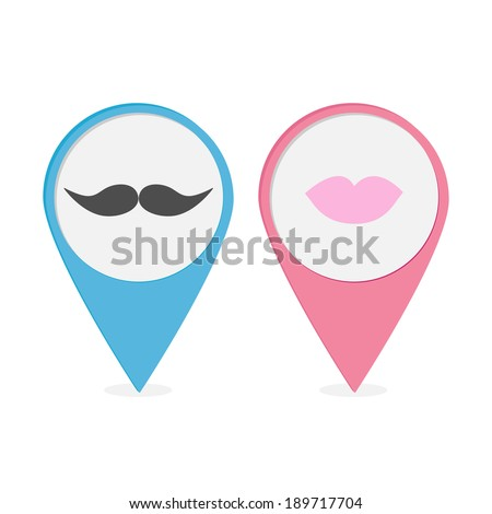 Map pointer set with lips and mustaches. Pink and blue round markers. Vector illustration.