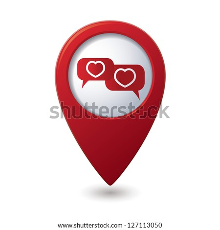 Map pointer. Speech bubbles with hearts. Vector illustration