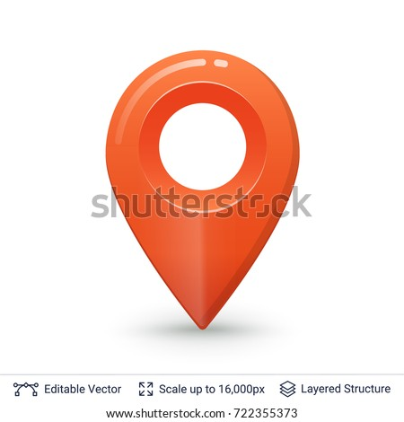 Map pointer symbol. Bright glossy location pin. Vector icon easy to use.