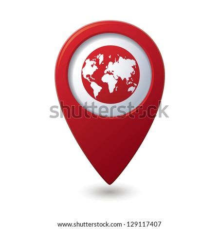 map pointer with earth globe