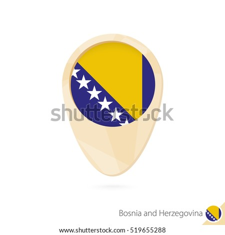 map pointer with flag of bosnia