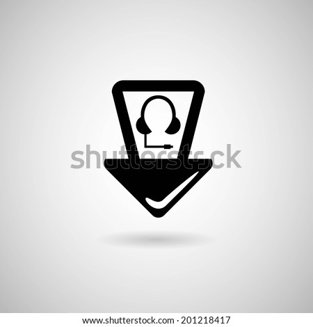 Map pointer with headphones icon. Vector illustration
