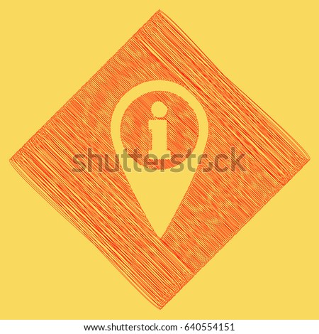 Map pointer with information sign. Vector. Red scribble icon obtained as a result of subtraction rhomb and path. Royal yellow background.