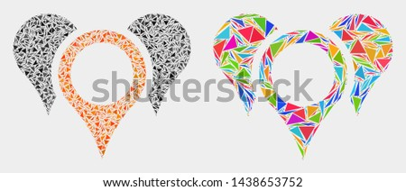 Map pointers collage icon of triangle elements which have different sizes and shapes and colors. Geometric abstract vector illustration of map pointers.