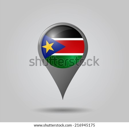 Map pointers with flag and 3D effect on grey background - South Sudan