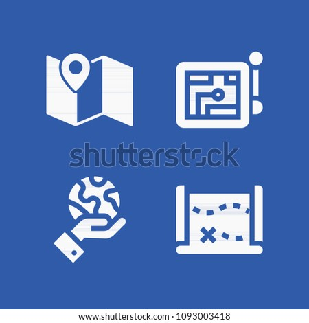 map related set of 4 icons such