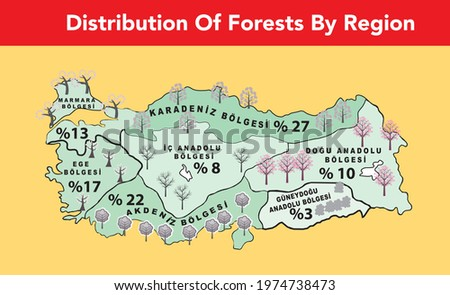 map showing the distribution of forests by region on turkey Stok fotoğraf ©