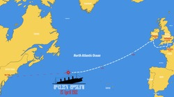 Map showing the point where the RMS Titanic sank.