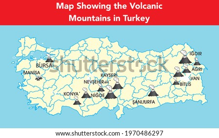 Map showing the volcanic mountains in Turkey with a volcano icon Stok fotoğraf ©