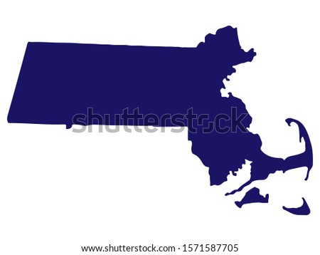 Map silhouette of the U.S. state of Massachusetts Vector Stock fotó ©