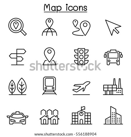 Map & Symbol icon set in thin line style