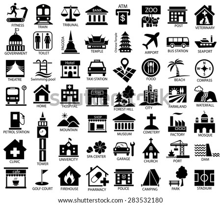 map symbol icon set, place of government, official, religious, cabaret, public health, travel, transport, relaxation, museum, airport, hospital, station, park, academy, gas station, stadium, city, dam