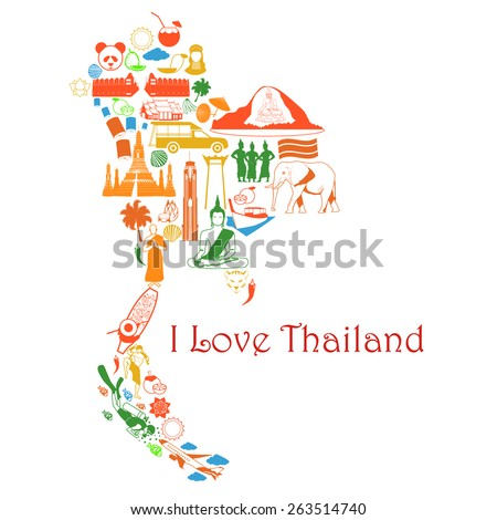 Royalty-free Thailand map. Thai color vector icons… #262038914 Stock ...