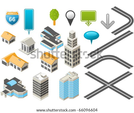 Map toolkit with Isometric Buildings and Roads - stock vector