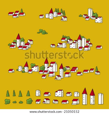 Map towns (vector). Town icons for map designs.