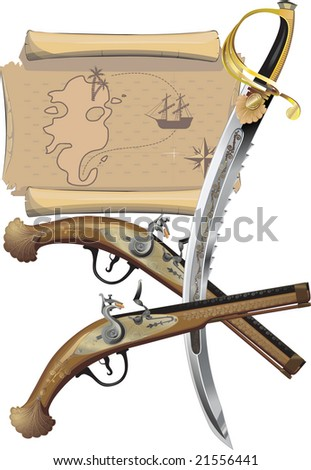 Map, two Pistols, and pirate Sword