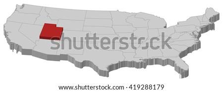 map   united states  utah   3d