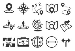 Map vector illustration icon set. Included the icons as pin, nearby, direction, position, ways, navigation and more.