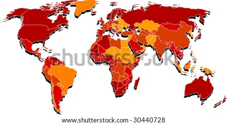 Map where is mixed red and yellow colors by country