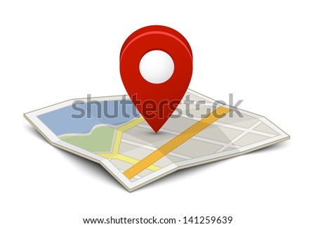 Map with a pin isolated on white