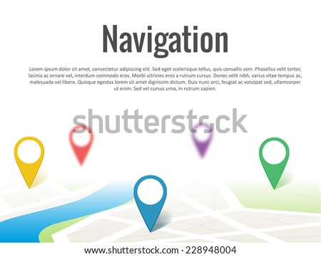 Map with a pin isolated on white #228948004