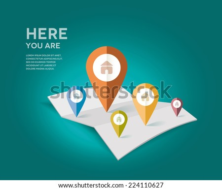 Map with different color point markers. Vector Illustration. #224110627