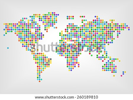Map with dots in different colors. Concept of diversity around the world