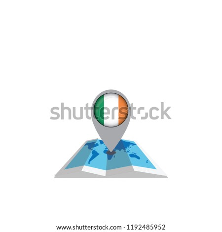 Map with flag of Ireland isolated