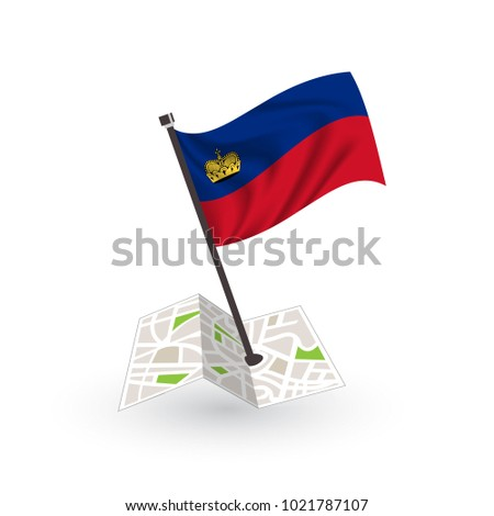 Map with flag of Liechtenstein isolated on white. National flag for country of Liechtenstein isolated, banner for your web site design logo, app, UI. check in. map Vector illustration, EPS10.